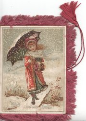 WISHING YOU A HAPPY NEW YEAR below girl in red standing under umbrella on plank over ditch in snow