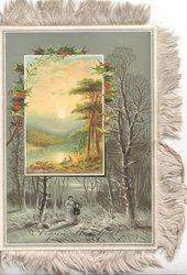 A GUID NEW YEAR below mother & child standing in woods below holly & rural inset