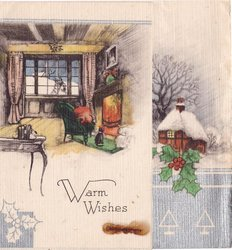 WARM WISHES  inside cottage view with cat near fire on front panel, snowy outside view of cottage, right