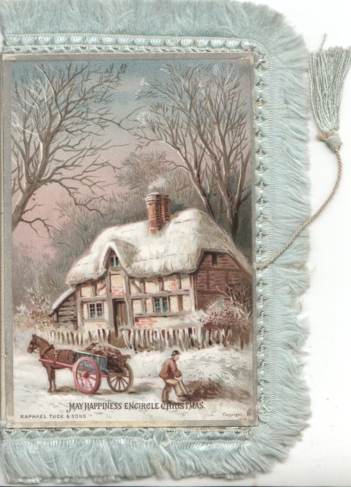 MAY HAPPINESS ENCIRCLE CHRISTMAS horse & cart in front of house in snowy winter,  rural scene