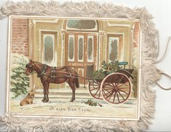 A GLAD NEW YEAR below horse &  open carriage in front of house, dog left, A MERRY CHRISTMAS on door of house, snow scene