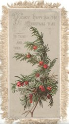 VERY HAPPY MAY IT BE, CHRISTMAS TIME TO THINE & THEE! berried yew