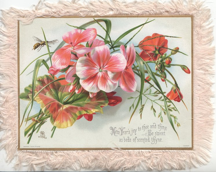 NEW YEAR'S JOY TO THEE AND THINE BE SWEET AS BEDS OF SCENTED THYNE pink & red geranium