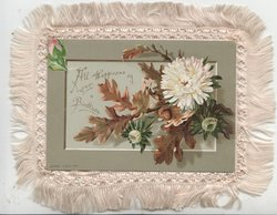 ALL HAPPINESS ON YOUR BIRTHDAY inset with white chrysanthemums & bronzed leaves