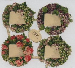 floral wreaths around a blank message board