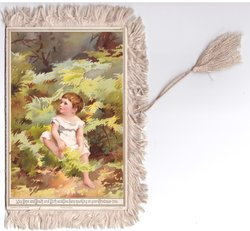 MAY HOPE AND HEALTH AND MIRTH AND GLEE HANG SPARKLING ON YOUR CHRISTMAS-TREE young boy sits among ferns looking up/left