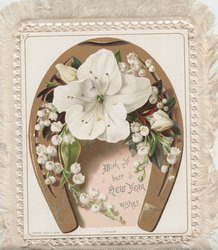 WISHING YOU A HAPPY CHRISTMAS yellow centred white daisies & yellow flowers under gilt horseshoe