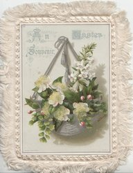 AN EASTER SOUVENIR azalea & apple blossom in hanging silver basket