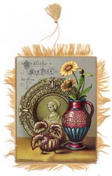 A BLITHE NEW YEAR BE THINE decorative plate behind vase with yellow daisies, small potted houseplant left
