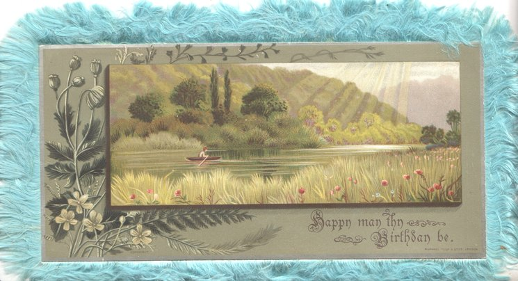 HAPPY MAY THY BIRTHDAY BE watery rural scene, yellow primroses left, man rows boat