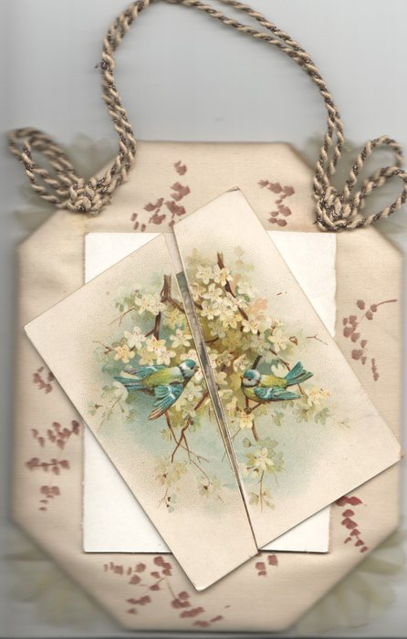 no front title, front panel split diagonally, 2 bluebirds-of- happiness on blossom tree