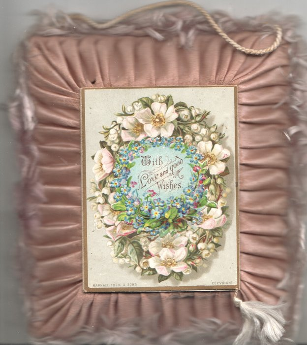 WITH LOVE AND GOOD WISHES in wreath of white wild roses & forget-me-nots