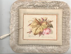 HAPPY RETURNS on gilt margined front panel which lifts, pink rose