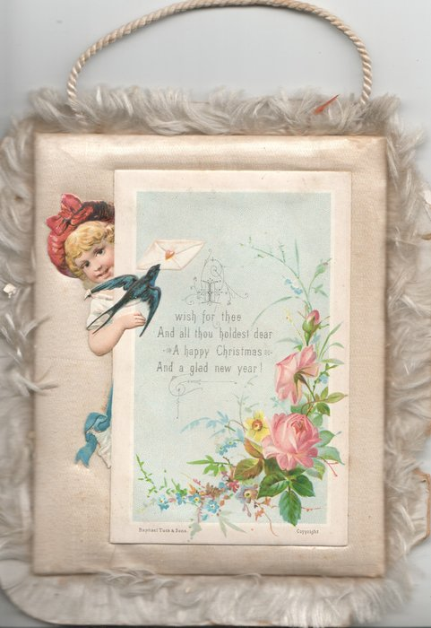 I WISH FOR THEE ... verse, girl reaches round oblong white plaque,pink roses & forget-me-nots