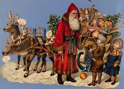 Santa gives toys to children, reindeer and toy filled sleigh behind him
