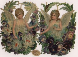 angels with floral wreaths