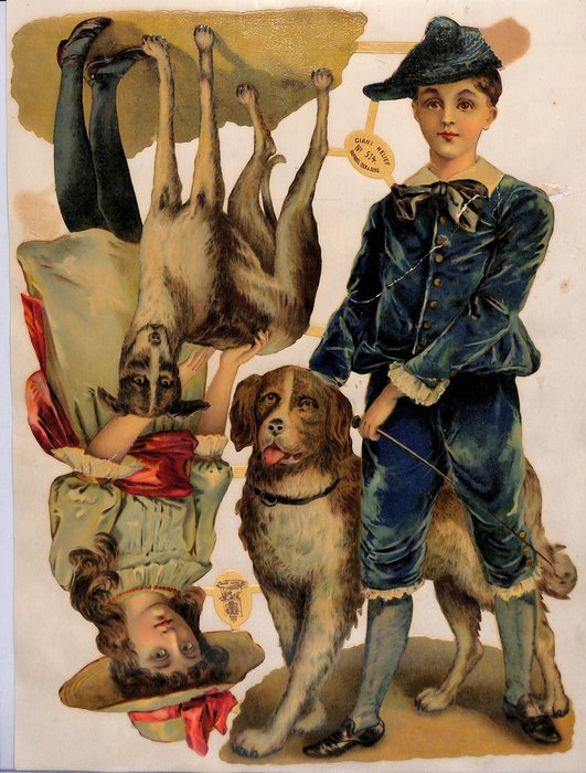 girl and boy with dogs