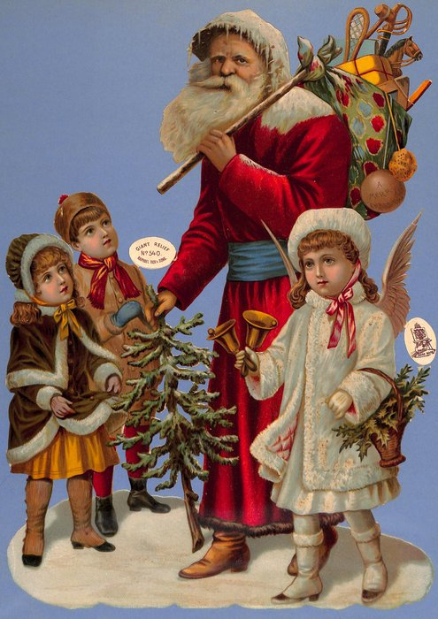 Santa with gifts, tree, children and angel