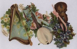 musical instruments with flowers