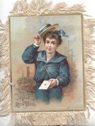 front title WITH BEST WISHES FOR A GLAD NEW YEAR boy in blue offers letter as he doffs his hat