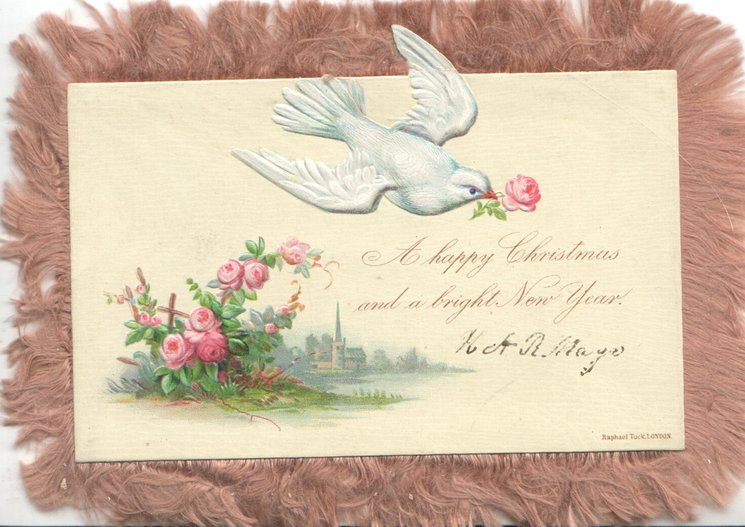 A HAPPY CHRISTMAS AND A BRIGHT NEW YEAR pale blue-bird-of happiness flies right with rose in bill. roses & rural scene below left