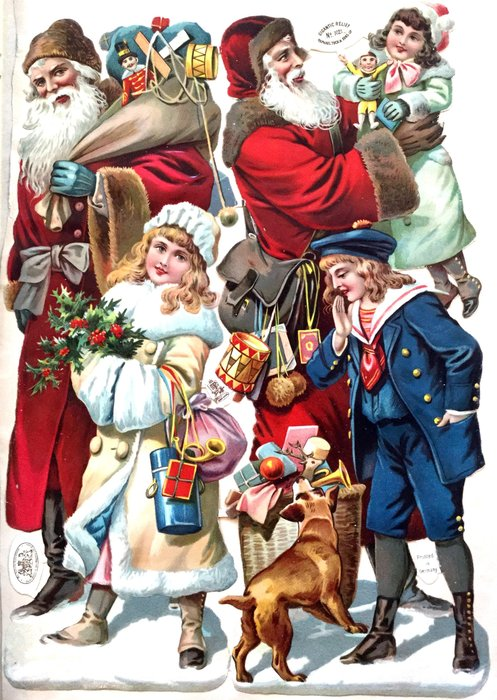 Santas with children and toys