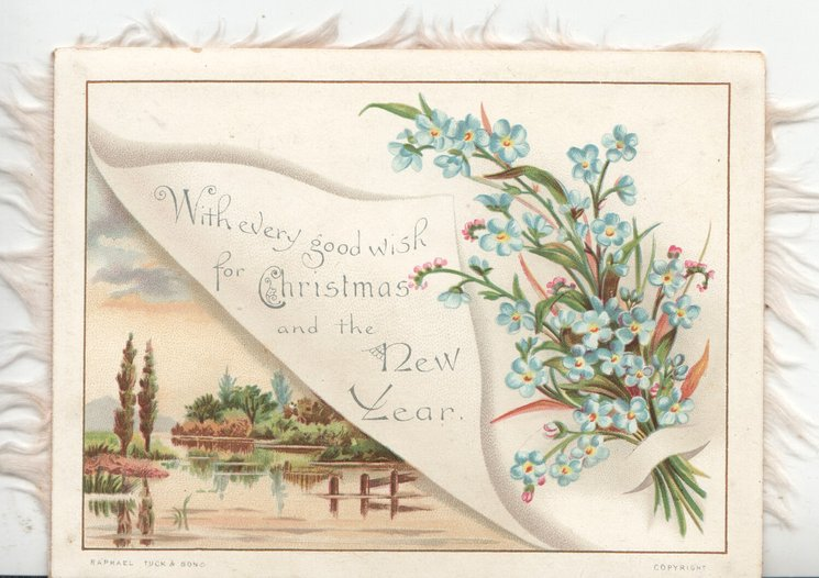 A HAPPY CHRISTMAS TO YOU on white corner, white & pink flowers left, rural watery scene right