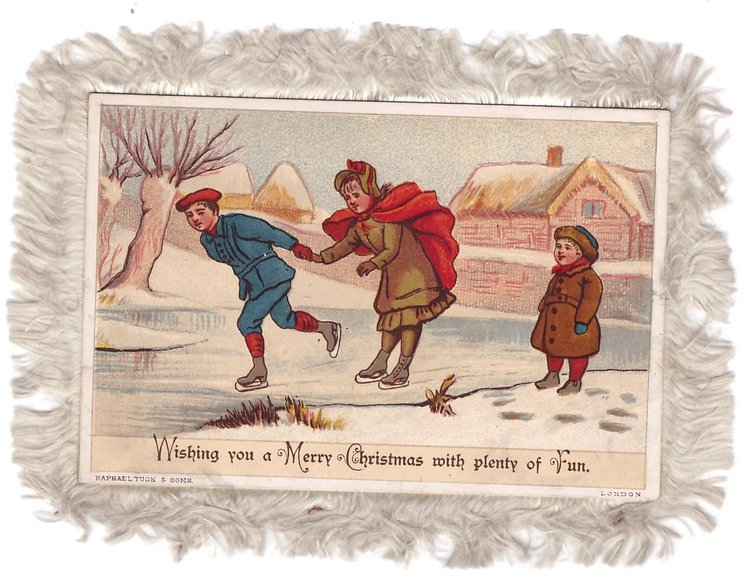 WISHING YOU A MERRY CHRISTMAS WITH PLENTY OF FUN boy leads girl ice skating left, another looks on, cottage behind