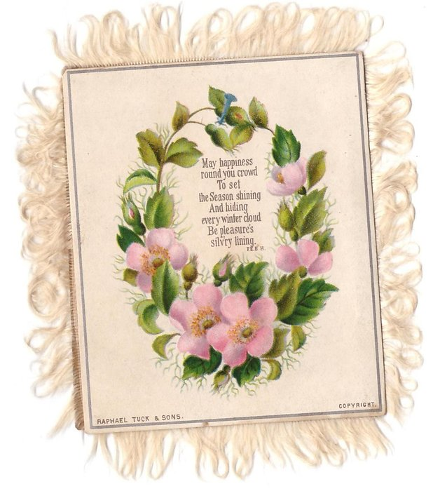 MAY HAPPINESS ROUND YOU CROWD TO SET THE SEASON SHINING .... wreath of wild pink roses