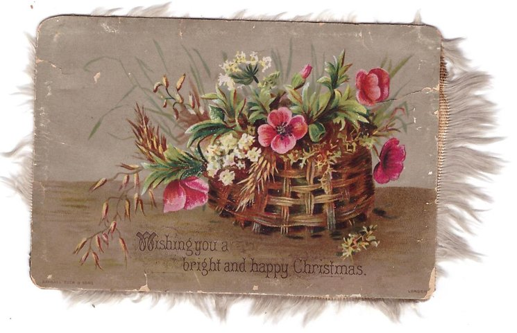 WISHING YOU A BRIGTH AND HAPPY CHRISTMAS mixed wild flowers & grasses in woven basket