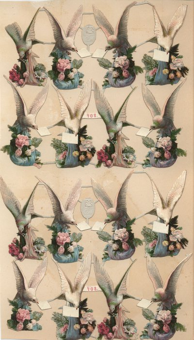 doves carrying pink or blue blankets with floral bouquets