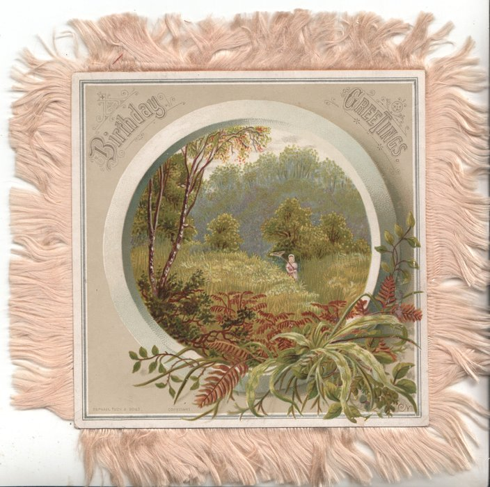 BIRTHDAY GREETINGS circular inset, rural scene, ferns, grasses & trees