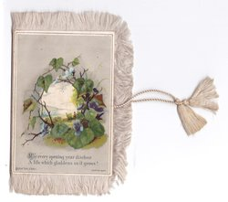 MAY EVERY OPENING YEAR DISCLOSE A LIFE WHICH GLADDENS AS IT GROWS! rural inset framed by ivy & wild violets