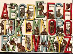 alphabet letters entwined with animals