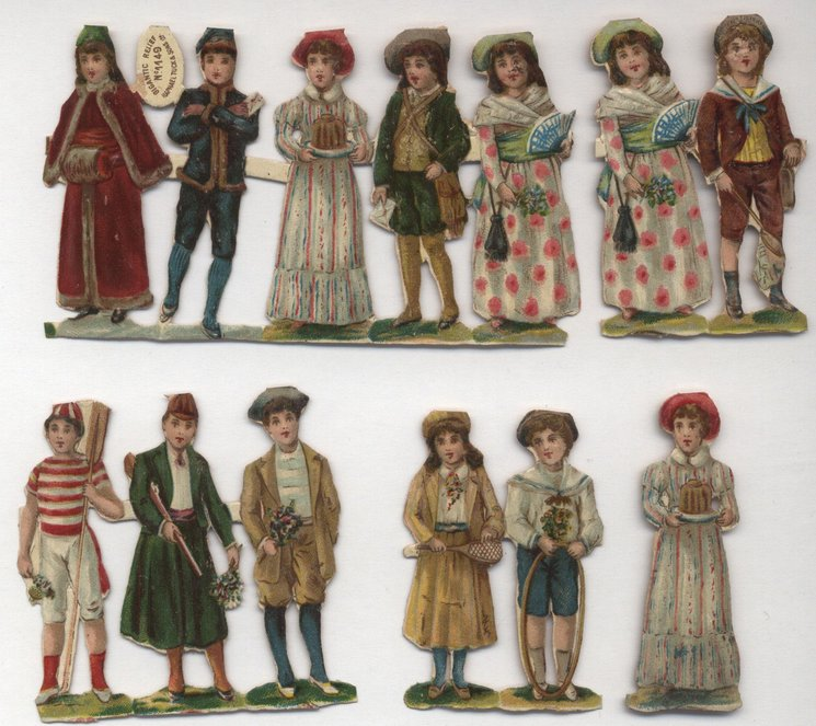 children dressed as adults with gifts or toys