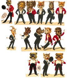 animals personified, animal heads and people bodies wearing tuxedos