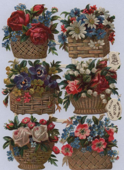flowers in wicker baskets