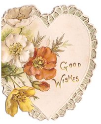 GOOD WISHES white, red & yellow anemones over die-cut white heart with lace-like border