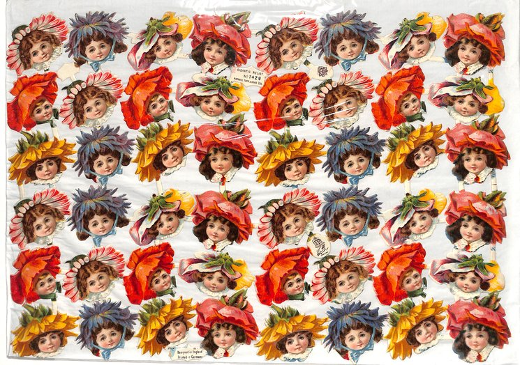 heads of children with flower hats