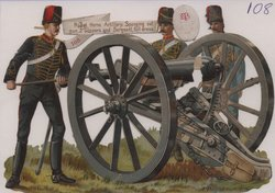 ROYAL HORSE ARTILLERY. SPONGING OUT GUN. 2 GUNNERS AND SERGEANT, FULL DRESS