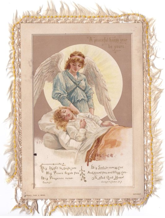 A PEACEFUL HAPPY YEAR BE YOURS angel stands behind sleeping child