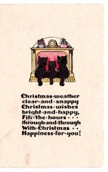 CHRISTMAS WEATHER CLEAR AND SNAPPY .... 3 black cats sit in front of fireplace, rear view