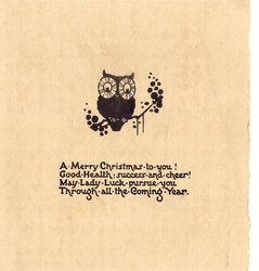 A MERRY CHRISTMAS TO YOU! GOOD HEALTH ... owl perched on branch, black