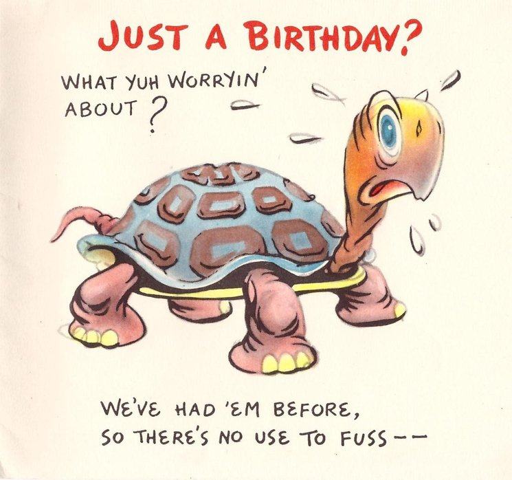 JUST A BIRTHDAY? WHAT YUH WORRYIN' ABOUT? over turtle WE'VE HAD 'EM BEFORE, SO THERE'S NO USE TO FUSS
