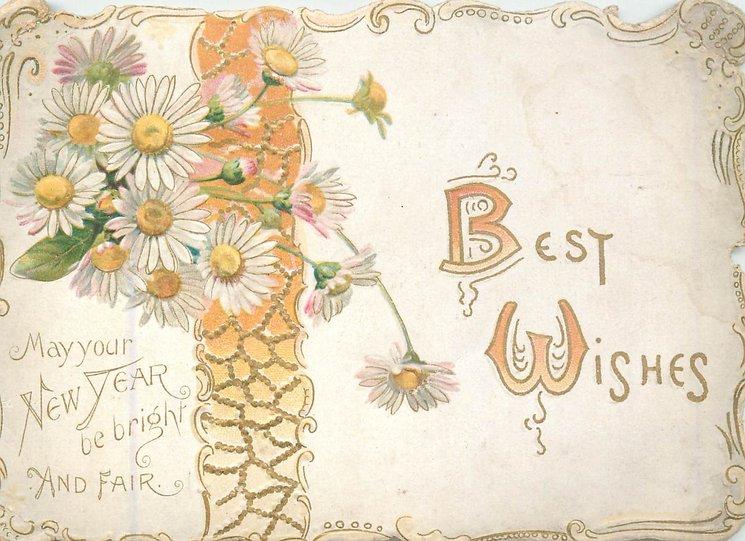 BEST WISHES (B & W illuminated in orange)on white plaque with gilt & orange ribbon, white orange centered daisies