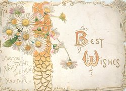 BEST WISHES (B & W illuminated in orange)on white plaque with gilt & orange ribbon, white orange centered daisies