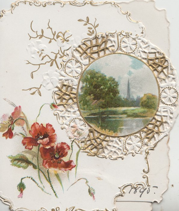 no front title, red poppies below left, circular watery rural inset on designed perforated left flap