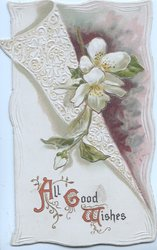 ALL GOOD WISHES white blossoms on white filigree panel made to look like flap
