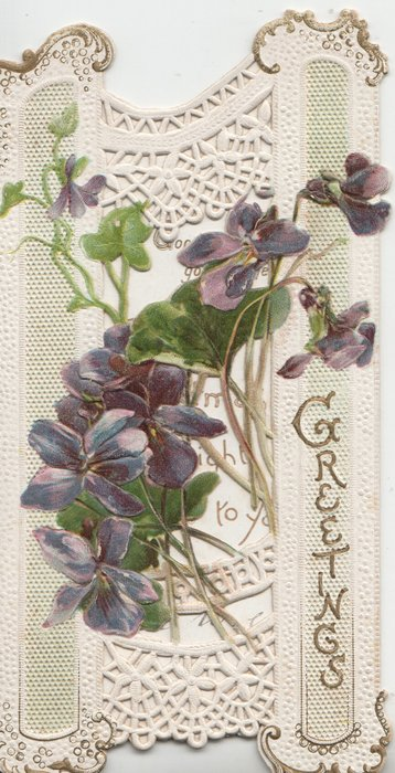 GREETINGS in gilt vertically below right, many violets across perforated design