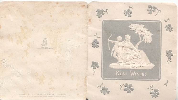 BEST WISHES embossed in white below square grey plaque inset boy archer, woman & child, all embossed in white